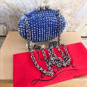 Christian Louboutin Blue Spike Mina Chain Clutch